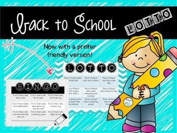 Back to school ice-breaker Lotto