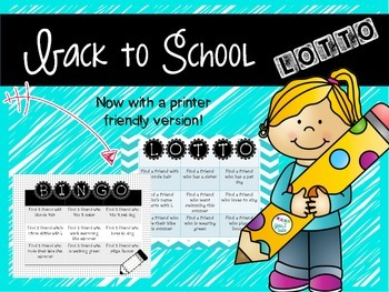 Back to school ice-breaker Lotto