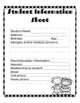 Back to school information sheets