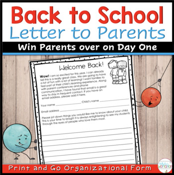 EDITABLE Back to School Letter