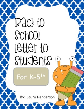 Back to school letter to the students