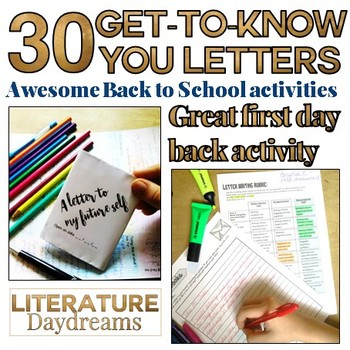 Back to school letter activities for middle / high school