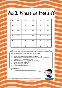 Back to school math: Fred's First Week Back at School 3rd 4th
