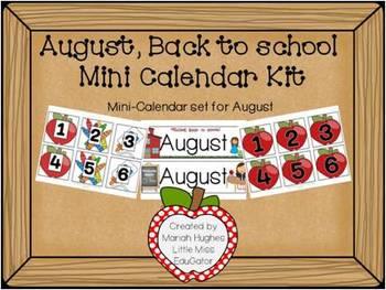 Back to school, mini-calender kit for August