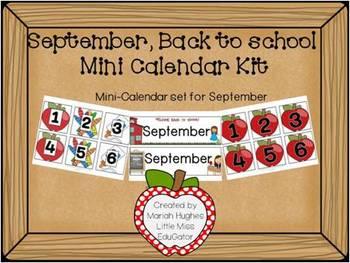 Back to school, mini-calender kit for September