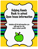 Back to school night  / Open House information