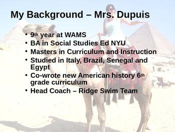 Back to school night powerpoint - social studies - middle school