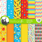 Back to school papers, commercial use, scrapbook papers - PS872
