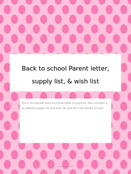 Back to school parent letter, supply list, and wish list - Editable