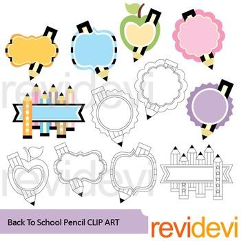 Back to school pencil clip art