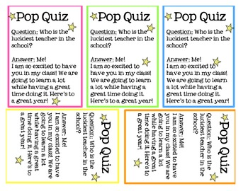 Back to school pop quiz! Gift for students