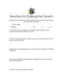 Back to school questions for Kindergarten parents