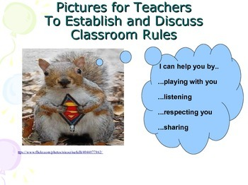 Rules and classroom management - pictures for discussion.