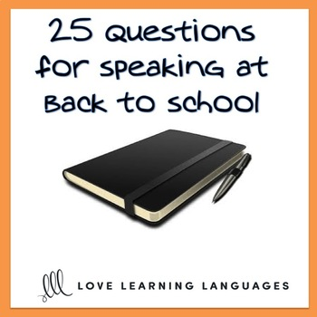 Back to school speaking questions about summer ESL - ELL