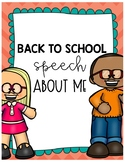 Back to school speech about me!