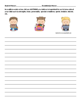 Back to school student info letter for parents