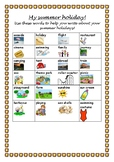 Back to school summer holiday vocabulary sheet