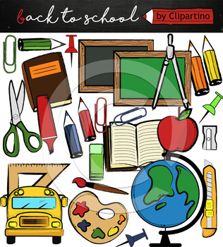 Back to school supplies FREE clipart, commercial use ok