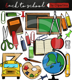 Back to school supplies clipart, commercial use ok
