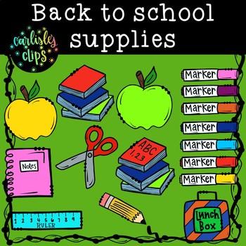 Back to school supplies clip art