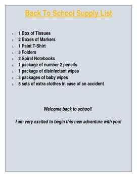 Back to school supply list
