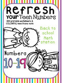 Back to school teen numbers worksheet (math station)