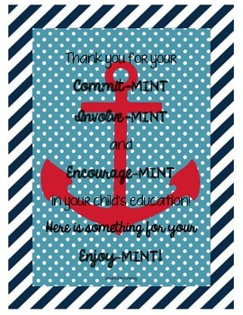 Back to school thank you poster Nautical theme