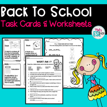 Back to school vocabulary ESL - Task cards, activities, games