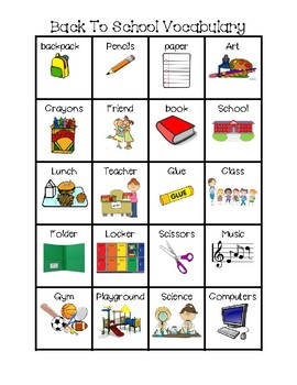 Back to school vocabulary, word wall, writing center
