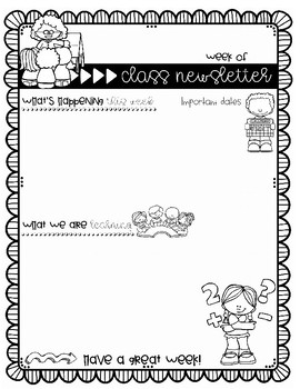 back to school weekly newsletter templates for teachers by mrs grauer