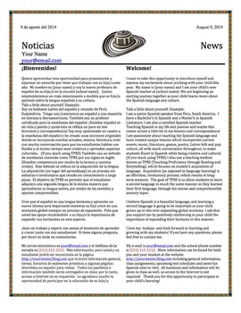 Back to school welcome letter for Spanish teachers