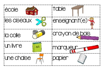 Back to school word wall words- French Immersion