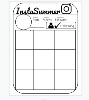 Back to school writing activity: INSTA summer