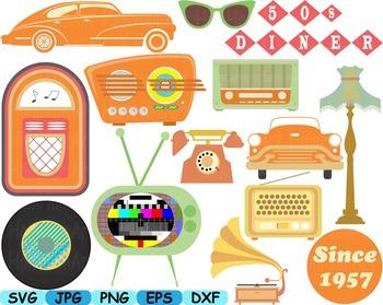 Back to the 50's Clip art svg music cars radio Fifties viv