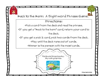 Back to the Barn:  A Sight Word Phrase Game