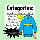 Categories for Speech Therapy: Colors, Shapes, Body Parts, Clothing