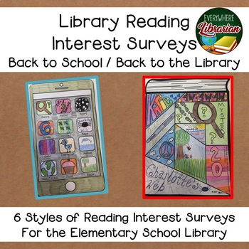 Back to the School Library! Reading Interest Surveys - 6 Options EASY NO PREP!