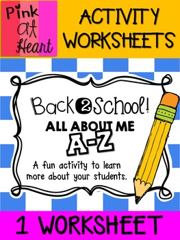Back2School All About Me A-Z Activity FREEBIE