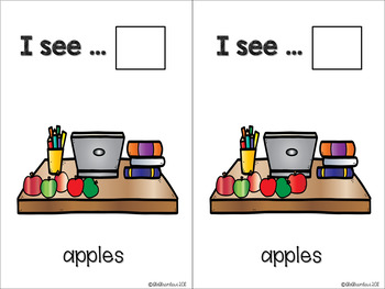 Back2School - KINDERGARTEN - Counting Flashcards Apples