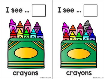 Back2School - KINDERGARTEN - Counting Flashcards Crayons