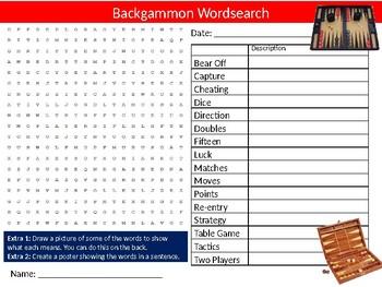 Backgammon Wordsearch Puzzle Sheet Keywords Games
