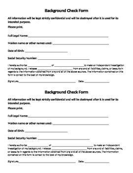 Background Check Form