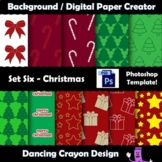 Background / Digital Paper Creator -Photoshop Template - Christmas Patterns