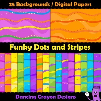 Backgrounds / Digital Papers - Dots and Stripes Clip Art Backgrounds