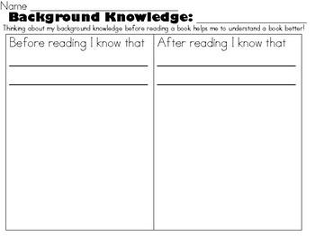 Background Knowledge, Prior Knowledge Worksheet