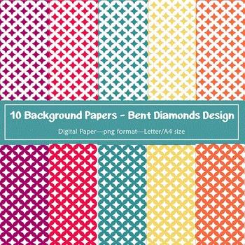 Background Paper - 10 Bent Diamond Designs Digital Papers