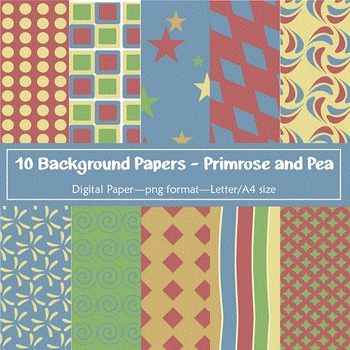 Background Paper - 10 Primrose and Pea Designs Digital Papers