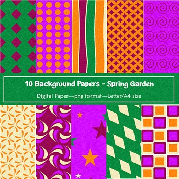Background Paper - 10 Spring Garden Designs Digital Papers