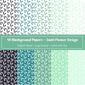 Background Paper - 10 Swirl Flowers Designs Digital Papers