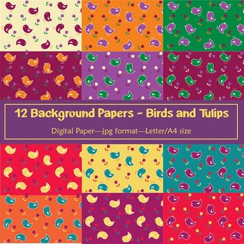 Background Paper - 12 Birds and Tulips Designs